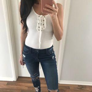 Tops - Staples White LaceUp Bodysuit